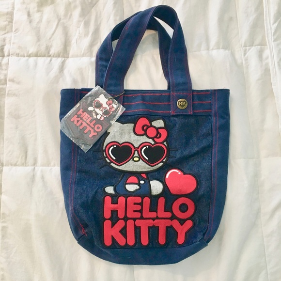 7a6cc67134c0 NWT Hello Kitty   Loungefly Denim Tote Bag